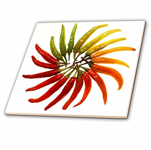 Red Hot Chili Peppers Chili, Chili Pfeffer, Chili, Chili, Paprika, Pfeffer, Paprika, rot Glass Tile, 12 Zoll ()