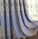 GJXY Tende di Cotone da Ricamo Cortina di bambù Europea Tende del Soggiorno 2pcs,Blu,137x260cm