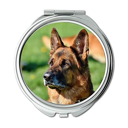 Yanteng Spiegel, Reisespiegel, Schäfer Dog Guard Hund Hund Hundekopf Schnauze Aufmerksamkeit, Taschenspiegel, tragbarer Spiegel