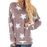 TianWlio Hoodie Pullover Damen Sweatshirt Langarmshirt Bluse Kapuzenpullover Frauen Star Print Langarm O-Ausschnitt Sweatshirt Pullover Tops Bluse