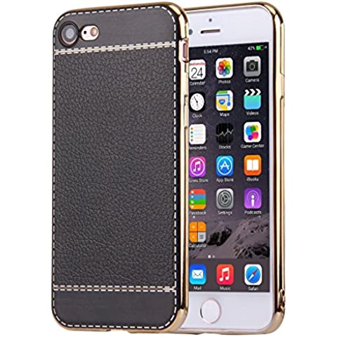iphone 7 caso, Krygershield® - di lusso in pelle morbida copertura del gel di cristallo flessibile con paraurti elettrolitico in nero