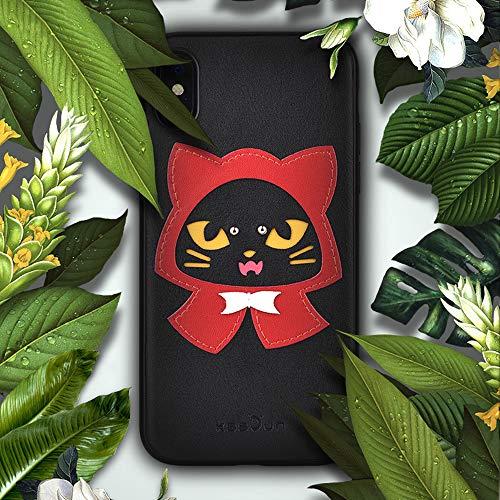 SUNLMG iPhone XS Fall Weiche TPU Dünne Einfache Echtes Leder Nieten Nähte Cartoon Fall Für Iphonex/XS / XR/XS,X