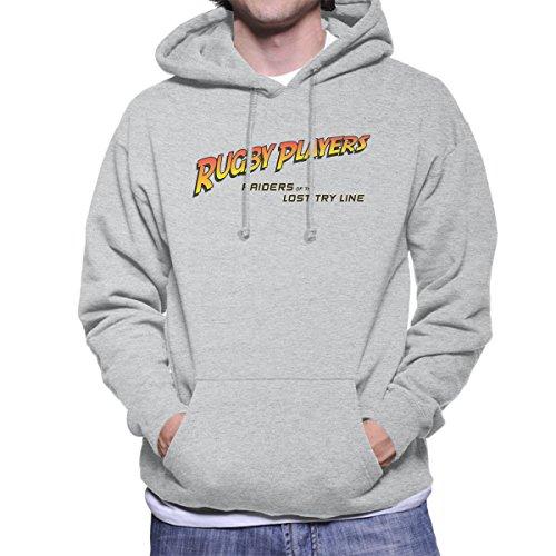 Indiana Jones Rugby Raiders Of The Lost Try Line Men's Hooded Sweatshirt Heather Grey