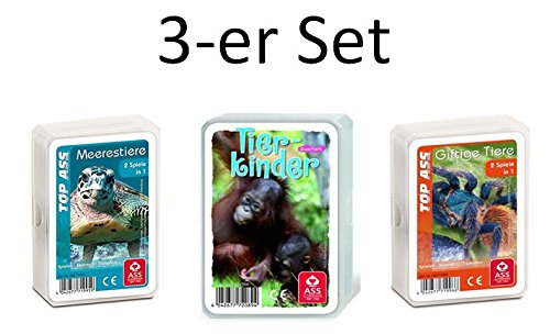 """3-er Set Quartettspiele """"Tierwelt"""" bestehend aus 1. Top Ass Giftige Tiere - 2. Top Ass Meerestiere - 3. Top Ass Tierkinder (Tier Kinder)"""
