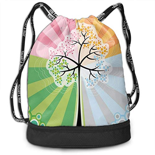 LULABE Printed Drawstring Backpacks Bags,Four Season Projections On Tree Cycling In Spring Summer Winter Autumn Vibrant Print,Adjustable String Closure (Halloween Seasons Four)