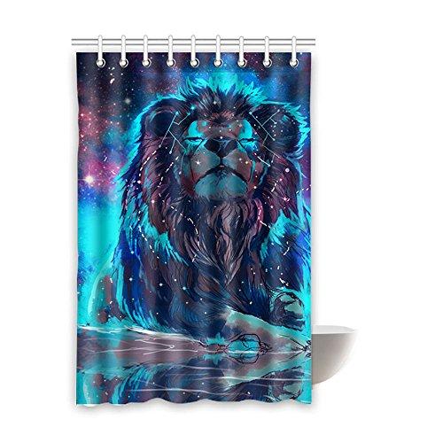 Dusche curtain- 100% Stoff Polyester Dusche curtain- Vorhänge Dusche Badezimmer Wasserdicht mit 9Haken, Löwe 121,9x 182,9cm Zoll, Polyester, Color 2, 48x72 inches (48 X 72 Dusche Vorhang)