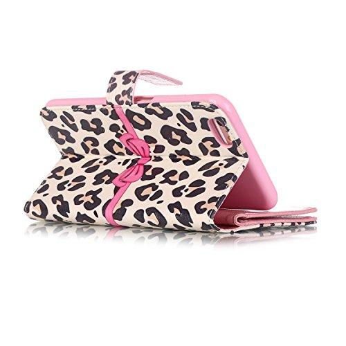 iPhone 6Plus/6S Plus 14cm Étui portefeuille en cuir PU couverture de livre, newstars léger Étui à rabat pour Téléphone portable Motif floral Mobile Protéger Peau Étui en cuir pour Apple iPhone 6Plu Y White Leopard Pink Bow