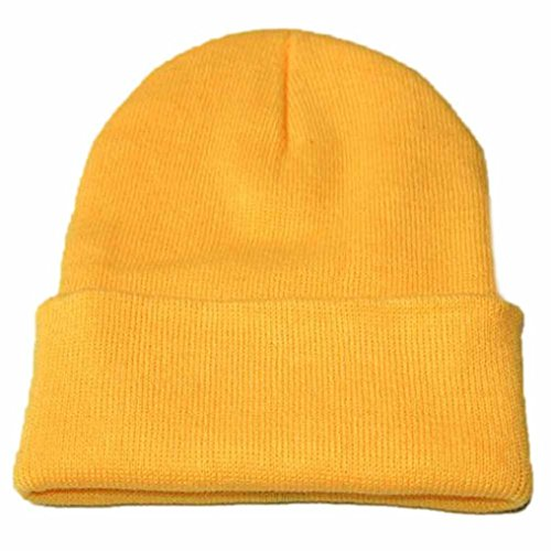 YanHoo Caldo Cappello da Sci Invernale, Cappellino Hip Hop Unisex Slouchy Knitting Beanie (Formato Libero, Giallo)