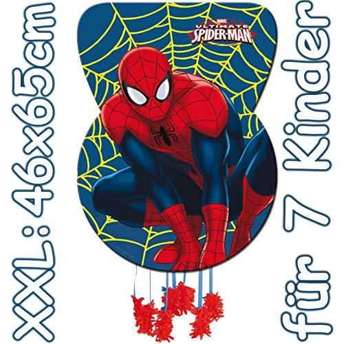 XXL-Pinata * Ultimate Spider-Man * - als Zugpinata für Kindergeburtstag | Größe: 46x65xm | Piñata von Marvel | Kinder Superhelden Geburtstag Spiele Spass