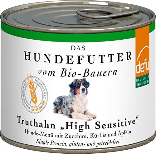 defu Bio Hundefutter Nassfutter getreidefrei mit saftigem Truthahn | Hundefutter mit hohem Fleischanteil von 87 Prozent