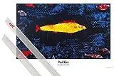 1art1 Poster + Hanger: Paul Klee Poster (91x61 cm) der Goldene Fisch, 1925 Inklusive Ein Paar Posterleisten, Transparent