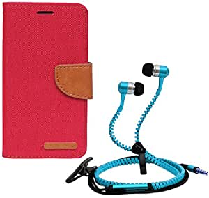 Aart Fancy Wallet Dairy Jeans Flip Case Cover for SamsungA5 (Red) + Zipper Earphones/Hands free With Mic *Stylish Design* for all Mobiles- computers & laptops By Aart Store.