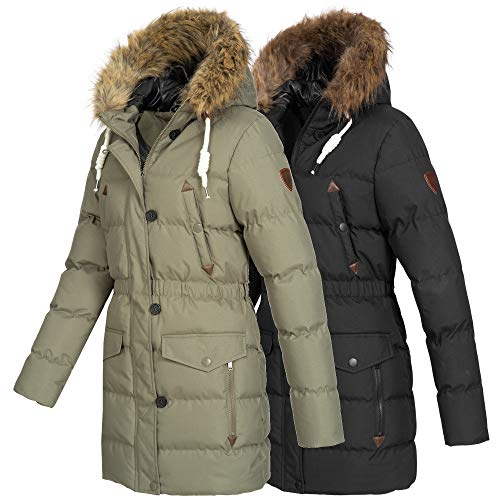 Azuonda Damen Winter Jacke Mantel Winterjacke Parka warm gefüttert Kapuze Az103 XS-XXL 2-Farben