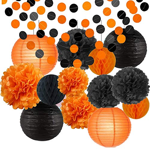 Erosion glücklich Halloween Party Dekorationen Kit Papier Laternen Seidenpapier Pom Poms Schwarz Orange Kinder Schwarz und Orange Papier Garland Thema Halloween Serie Halloween Dekoration Papier Blume (Party-dekoration Halloween Für)
