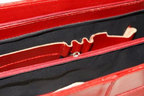 Leder Damen Business- / Akten-/ Laptoptasche mit Schulterriemen Italy Mod.2026-p Rot