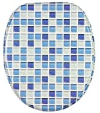 Soft Close Toilet Seat | Stable Hinges | Easy to mount | Mosaic Blue