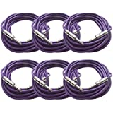 "Seismic Audio - 6 Pack Of Purple 1/4"" TRS 25' Patch Cable - Balanced Effects EQ Purple - SATRX-25Purple6"