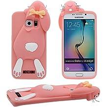 Galaxy S6 Edge Case 3D Animal Popular Bonita Linda Conejo Forma Alta calidad Suave Silicona Plastico Gel Antigolpes Carcasa Protectora Case para Samsung Galaxy S6 Edge ( Rosa )