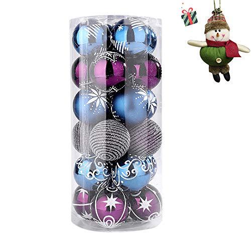 24pezzi palline per albero di natale, morbuy diametro 6 cm palle di natale in plastica scatola porta applique ornamenti festa decorazioni natalizie albero palle per matrimoni