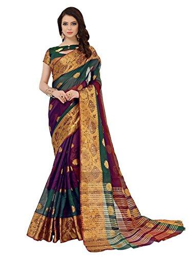 Aelicia Woven Kanjivaram Jacquard, Silk, Art Silk Saree (Multicolor)