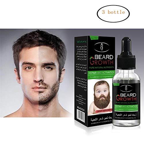 Pretty Comy 3 Pcs Huile Essentielle pour Barbe 30mL - Supplément Capillaire pour le Visage Homme - Sérum de Croissance des Cheveux pour la Barbe plus Epaisse et plus Complète
