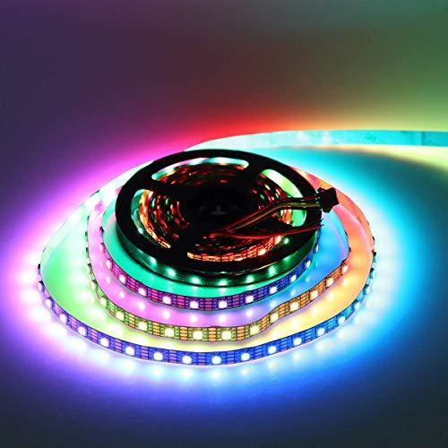 WS2813 Pixels RGB Tira Led, 16.4ft/5m 300 Leds WS2813 IC (WS2812B actualizado) Directamente individualizable Multicolor 5050 SMD 60 leds/m No impermeable Flexible Luz de Cinta LED DC 5V PCB Negro
