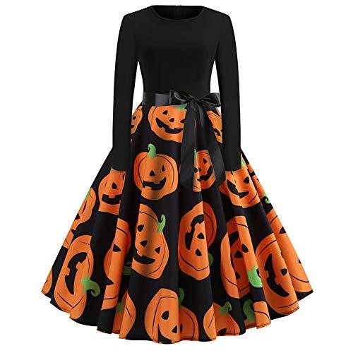 Halloween Kleider Damen Rockabilly Kleid Elegante Kleider Lange Kleider Frauen Kleid Festliche Damenkleider Knielang - Damen Vintage Bodycon Ärmellose Abend Party Prom Swing Dress