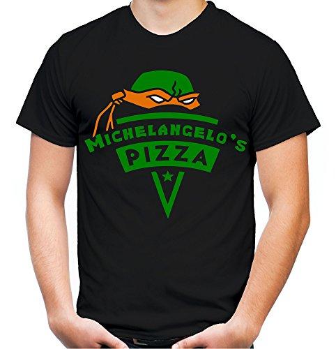 Michelangelo's Pizza Männer und Herren T-Shirt | Teenage Mutant Ninja Turtles Splinter Fun (4XL, Schwarz)