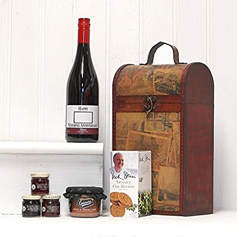 'Happy Wedding Anniversary' Red Wine and Food Hamper Presented in