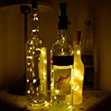 A-szcxtop Solar LED Bottle Fairy Light Wine Bottle Cork Shaped String Light 48 Inches Copper Wire for Decoration (warm white)