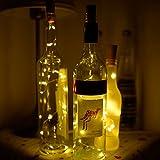 A-SZCXTOP Solar-LED-Licht, Flaschenleuchte mit Korkennachbildung, 119,4cm, Kupferdraht, 10LEDs, für Hochzeit, Party, Halloween, Konzert, Festival, Weihnachten, Weihnachtsbaumschmuck warmweiß
