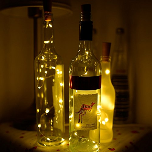 e Solar LED Flasche, Wein Flasche Kork geformte Lichterkette 119,4 cm Cooper Draht 10 LED Licht für Hochzeit Party Halloween Concert Festival Weihnachtsbaum Dekoration warmweiß (Halloween Mit Outdoor-dekorationen Ideen)