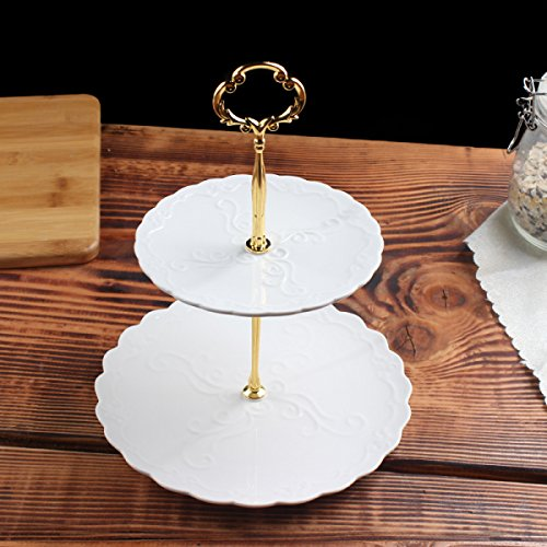 ZAIYI Fruchttablett Nachmittagstee Rahmen Europäische Keramik Obstteller Dreireihig Kuchen Stehen Dessertschale Obstschalen,A