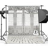 Mehofoto 1,5x 2,1m fondale retro in legno otturatore fotografico, motivo: fiore e chitarra fondali fotografia studio puntelli