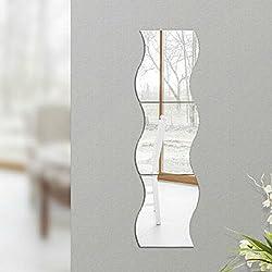 6pcs Pegatinas de Pared Arte Calcomanía Estilo Espejo Patrón de Ondas Decoración Habitación