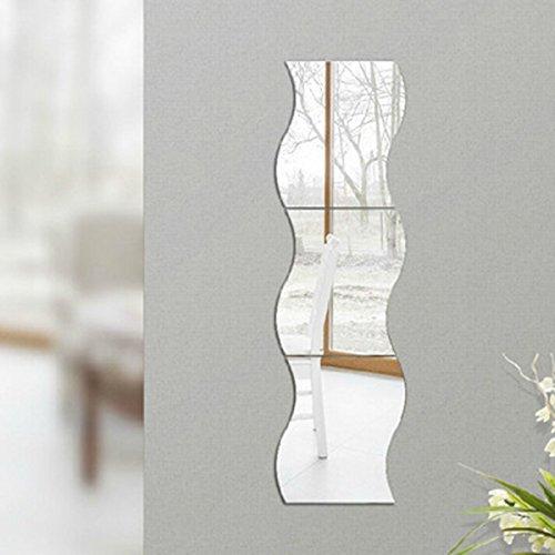 Baoblaze 6 STK. Wandspiegel Aufkleber Spiegelfolie Selbstklebend Wandsticker Spiegel Dekor