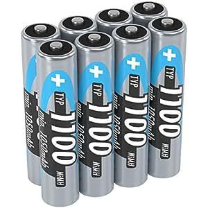ANSMANN NiMH Micro AAA Akkus 1 2V / Typ 1100mAh / Leistungsstarke Akkubatterien für Geräte mit hohem Stromverbrauch - ideal für Blitzgerät  Kameras & Fernbedienungen  8 Stück