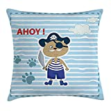 Ahoy Its a Boy Throw Pillow Cushion Cover, Cute Cat Pirate Funny Paws Clouds Maritime Striped Framework, Decorative Square Accent Pillow Case, 18 X 18 inches, Turquoise Violet Blue Red