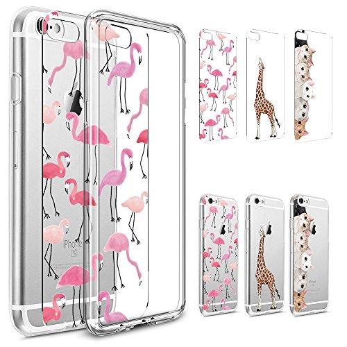 iPhone 7Fall, phezen [3er Pack] Rosa Pfirsich Blossom Flower Art Muster Papier mit 1PC Weiß Kristall klar Bumper TPU Soft Case Gummi Silikon Skin Cover für iphone 7 Muster 04