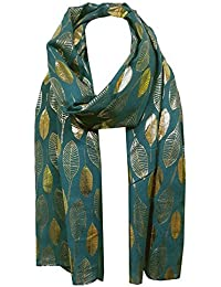 World of Shawls Moonlit Gold Foil Feather Design Scarf For Ladies Women Soft Shawl Wrap Scarves