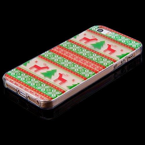 Cover per iPhone 5 / 5S / SE, Custodia iPhone 5S in Silicone Morbida, Surakey Serie di Natale Back Cover TPU Semi-Trasparente Sottile e Flessibile Premium Gel Gomma Custodia Protettiva Bumper Belle El Elk#1