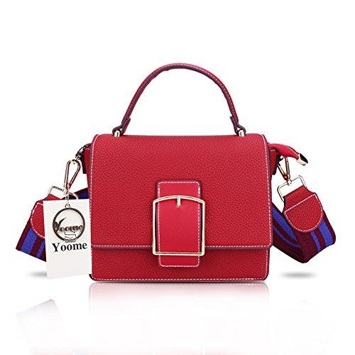 Yoome Mädchen Designer Geldbörsen Cross Body Handtaschen Trendy Taschen für Frauen Schultertaschen mit breiten Gurtband - Burgund (Designer-stil-gürtelschnalle)
