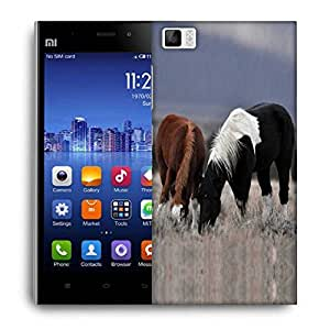 Snoogg Black And Brown Horse Designer Protective Phone Back Case Cover For Xiaomi Redmi 3