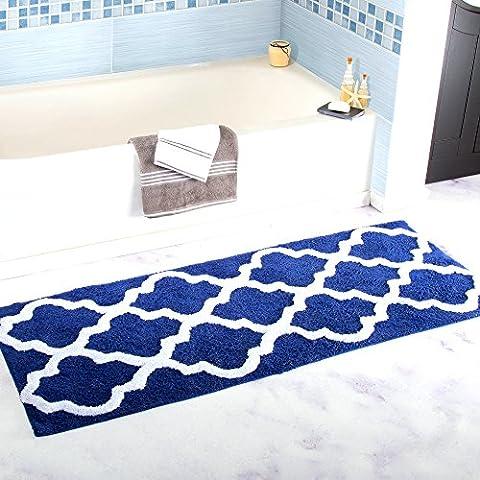 Tapis de bain Homcomoda Tapis de douche en microfibre Tapis de cuisine Antidérapant Tapis de salle de bain Tapis de sol en caoutchouc de luxe 45cmx120 cm ( Bleu Marine )