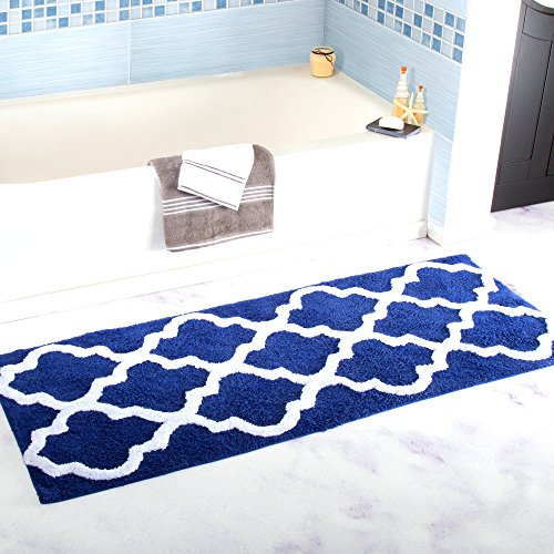 Homcomoda Alfombra de Baño Tapete de Baño de Microfibra Absorbente 17.72 por 47.24 Pulgadas Alfombra de Ducha Alfombra Lavable (Azul Marino)