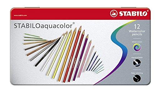 Foto de STABILO aquacolor - Lápiz de color acuarelable - Caja de metal con 12 colores