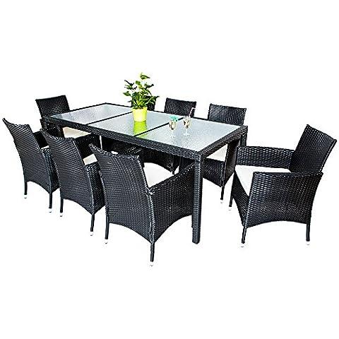 TecTake Conjunto muebles de Jardín en Poly Ratan 8+1 - disponible en diferentes colores (Negro   No. 401148)