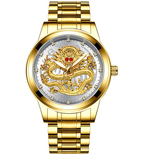 Armband für Herren/Skxinn Männer Quartz Uhrenarmband mit Edelstahl Uhrarmband,Fashion Embossed Diamond Dragon Face Watch,Casual Herrenuhr Ausverkauf(D)