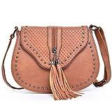 LONGBLE Damen Umhängetasche Schultertasche Handtasche aus PU-Leder klein Geschenk für Sie Handgefertigte Sattel Crossbody Hobo Tasche Taschen Schultasche Clutch mit Schultergurt Vintage (Hellbrau)