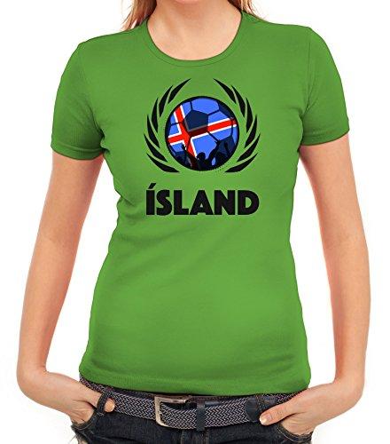 ShirtStreet Iceland Wappen Soccer Fussball WM Fanfest Gruppen Fan Wappen Damen T-Shirt Fußball Island Apfelgrün